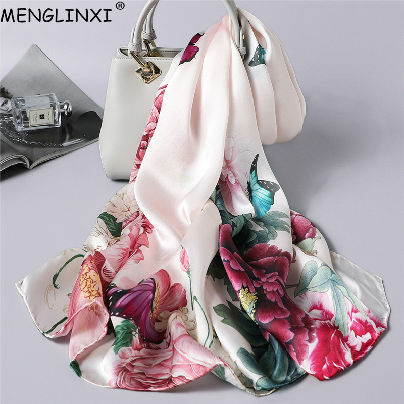 Natural Silk Scarf Spring Shawl Pure Silk Scarf Hand-rolled Edges 100% Silk Scarf Women Luxury Fashion Scarves
