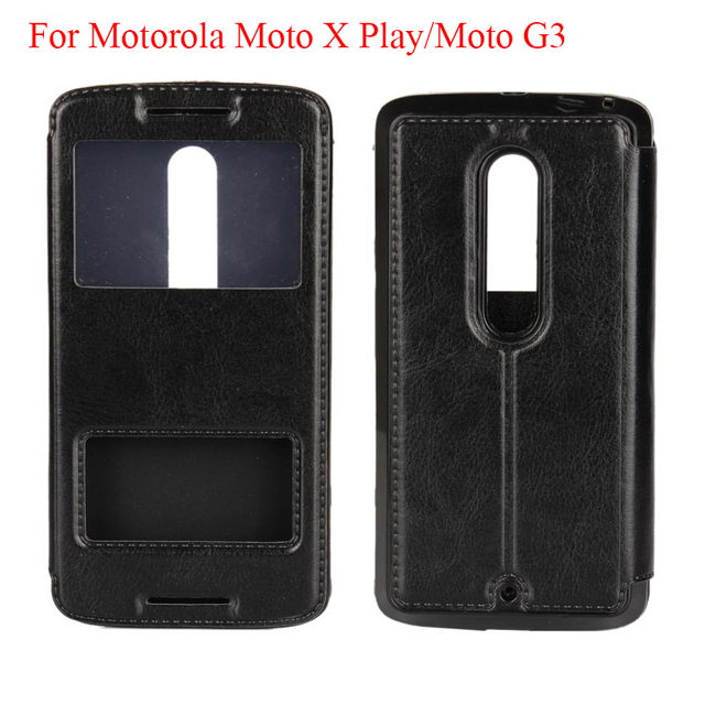 4aaa84d78bb For Motorola Moto X Play MOTO G3 Flip Cover Crazy Horse PU Leather+TPU  Window View Cases for Funda XT1561 XT1562 Coque Capa Para