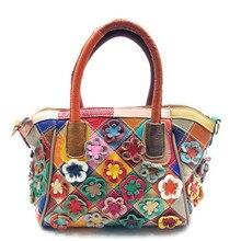 Luxus Echtes Leder frauen Tasche farbabstimmung blumen umhängetaschen Mode Marken frauen messenger bags clutch crossbody-tasche