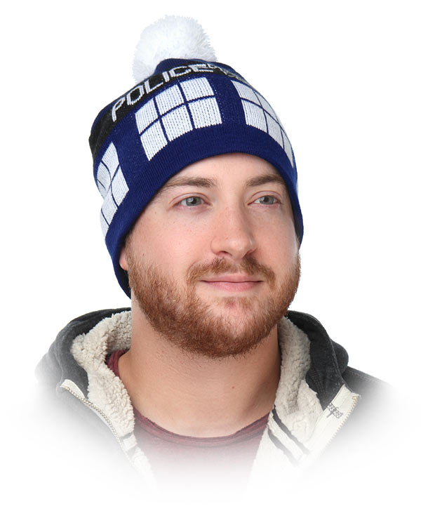 8d1502e259f Doctor Who Hat Warm cap TARDIS Bobble Knitted Braided Tassels Police Box  Beanie for Gifts Cosplay Props Sports Caps for couples-in Hiking Caps from  Sports ...