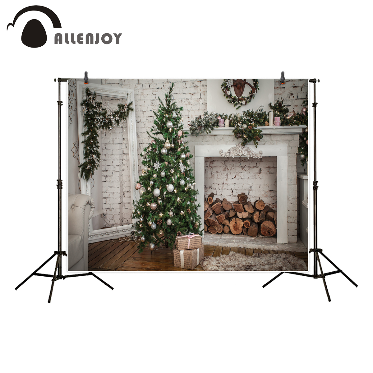 Allenjoy photography background Christmas tree brick wall fireplace nordic backdrop photocall printed portrait shooting