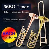 USA tenor trombone Bach 36BO Bb Phosphorus & Copper Tone Trombone beginner grading professional performance musical instrument