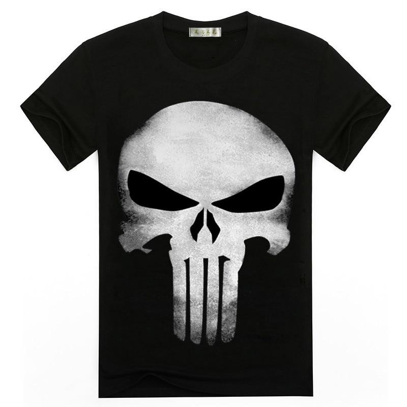 2019 new hot 3D printing Punisher skull T-shirt men's summer fashion short-sleeved shirt T-shirt tops and T-shirts