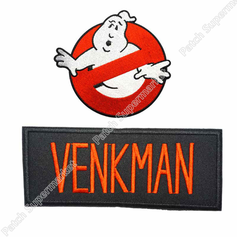 """Ghostbusters ZEDDEMORE No Ghosts Logo Screen Accurate 4/"""" Patch Set of 2"""