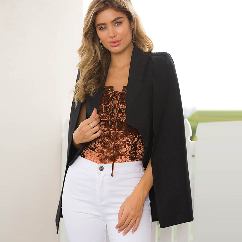 Loneyshow Lapel Cape Poncho Blazer Suit Coat New Ladies Women Long Sleeve Sexy Office Jacket Cloak Workwear Suits & Sets