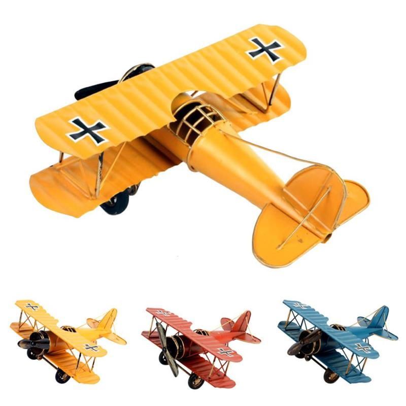 Home Metal Airplane Model Wrought Iron Crafts Gifts Artcraft Ornaments Birthday Christmas Kids Boy Aircraft Model Toy Present V3