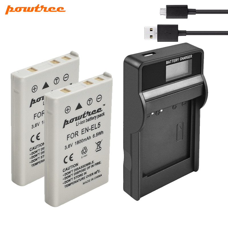 Powtree 1800mAh 2Pcs EN-EL5 Digital Camera Battery+USB Charger For Nikon Coolpix P4 P80 P90 P100 P500 P510 P520 P530 P5000 P5100