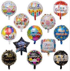 Image 2 - 100 adet toptan 18 inç İspanyol mutlu doğum günü folyo balonlar Mix stil doğum günü partisi dekorasyon helyum şişme Balao Globos
