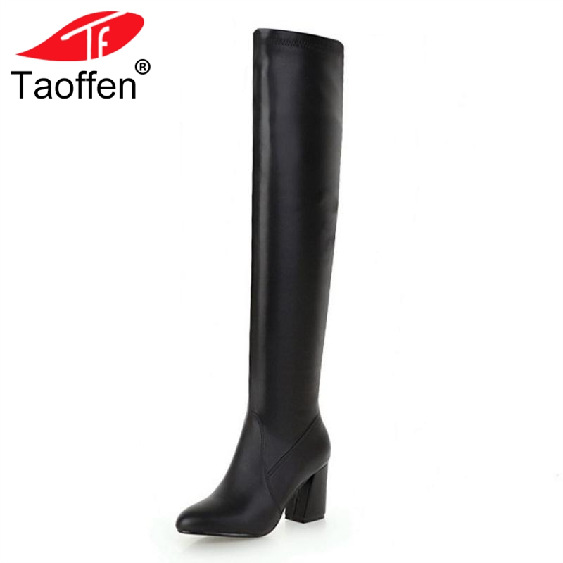 TAOFFEN Big Size 33-48 Over The Knee Women Boots Thick High Heels Boot New Pointed Toe Female Shoes Winter Warm Footwear цена
