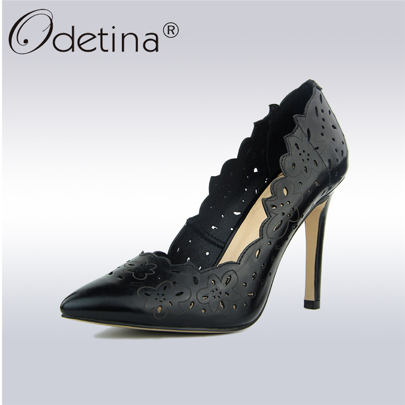 Odetina 2018 Fashion Women Cut Out High Heels Pointed Toe Sexy Slip on Black Pumps Summer Party Dress Shoes Stiletto Big Size 42 gullick sexy blade heels bowtie pumps pointed toe white leather wedding dress shoes for women cut out slip on spring shoes