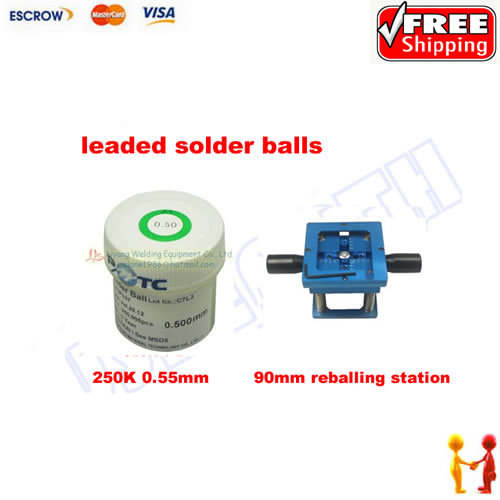 Freeshipping, BGA reballing station with leaded solder balls 0.5mm 250K, BGA accessories pmtc 250k 0 65mm leaded free bga solder ball for bga repair bga reballing kit bga chip reballing