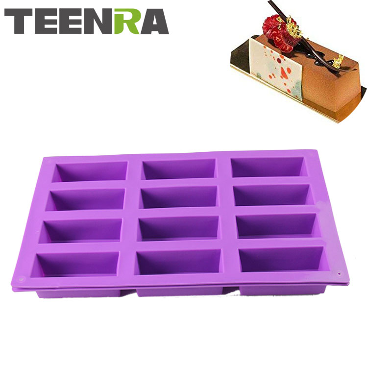 TEENRA 1Pcs 12 Cavity Rectangle Silicone Soap Mold Chocolate Mold Baking Pan DIY Handmade Soap Mold Loaf Pan Bakware
