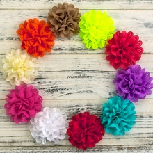 """120pcs/lot 4"""" 15 Colors Hair Clip Fluffy Eyelet Silk Flowers For Chidlren Hair Accessories Artificial Fabric Flower For Headband"""