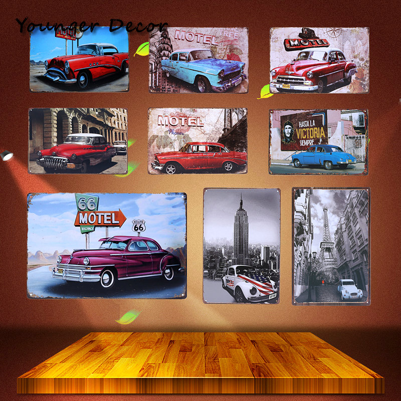 Classic Route 66 Motel Retro Plaque Metal Tin Signs Garage Vintage Home Decorative Car Plates Iron Painting Wall Poster YA092