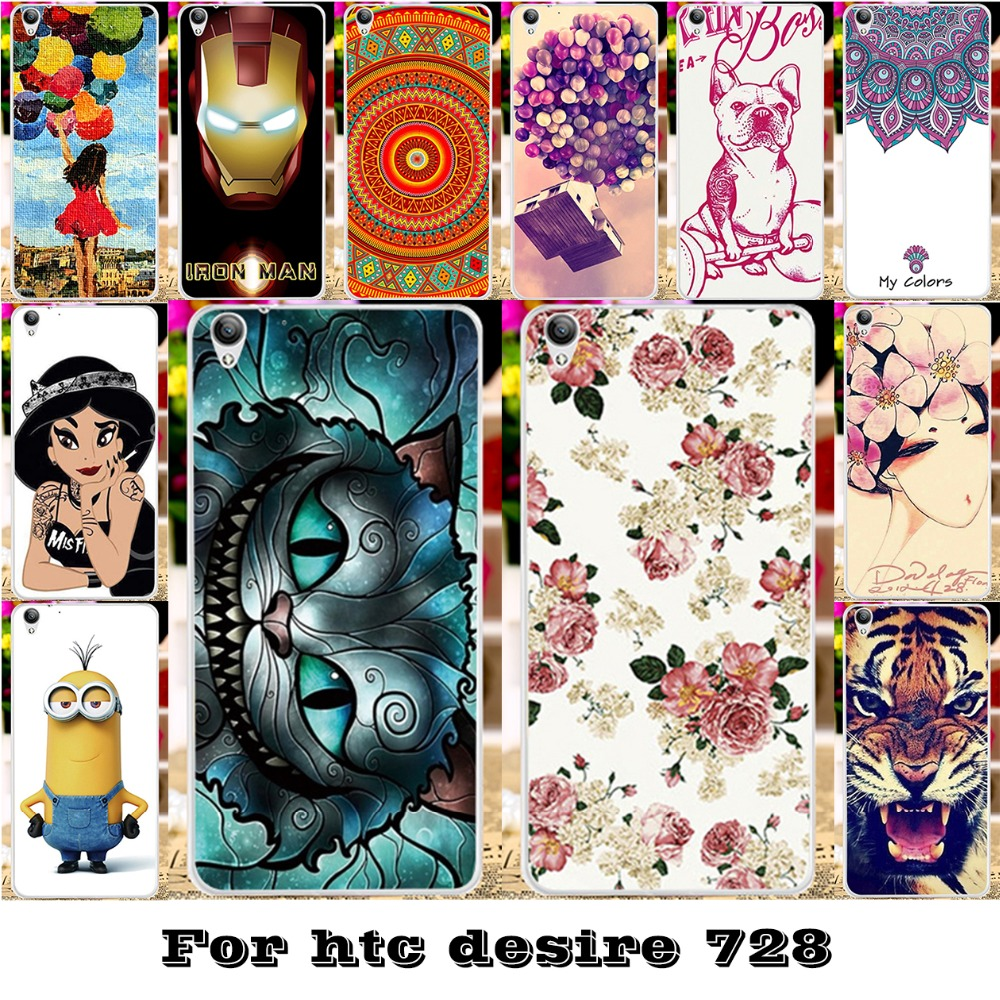 AKABEILA Plastic Bags Cases For HTC Desire 728 728G Dual Sim D728T D728W Housing Covers Skin Cat Tiger Case Cover Hood