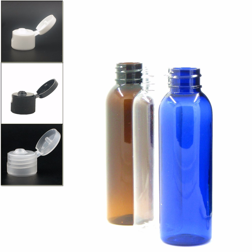 60ml Empty Cosmo Round Plastic Bottle, Clear/blue/amber Pet Bottle With Black/white/transparent Flip Top Cap X5