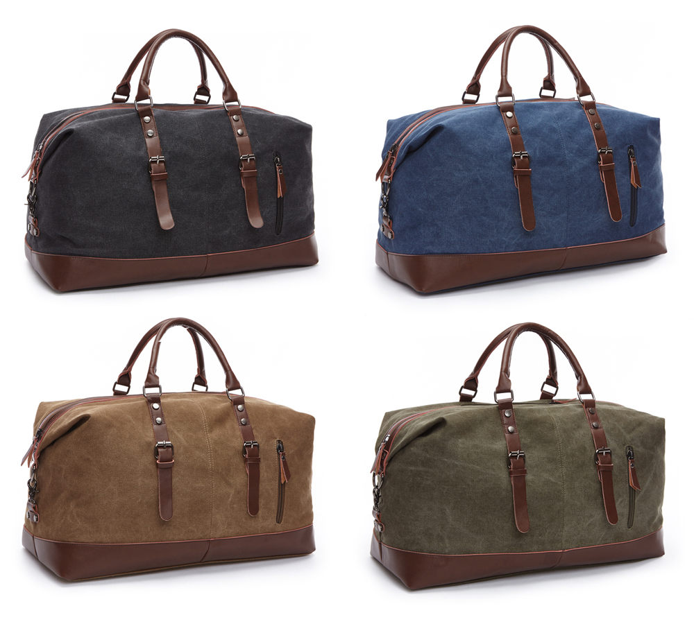 Topdudes.com - Canvas Leather Travel Duffel Bags