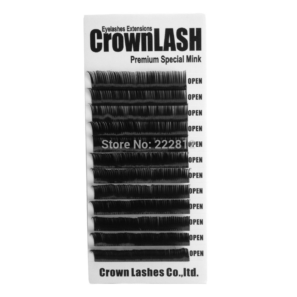 Crownlash Black 3D Volymlash Extension C, D-0.07 7-15mm enstorleksfack Konsistent Curve Soft Premium kvalitet