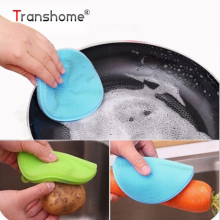 Transhome 1Pcs Magic Silicone sponge kitchen Cleaning Brushes Dish Bowl Scouring Pad Pot Pan Easy to clean Wash Brushes Cleaner