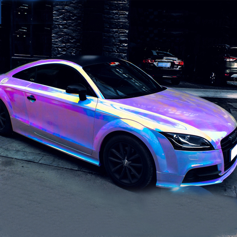 AuMoHall Holographic Rainbow Chrome Car Sticker Laser Plating Car Body Wrap Film DIY Car Styling