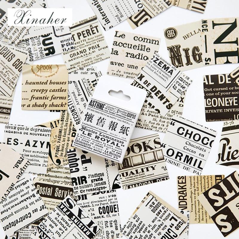 45pcs//Box Vintage Paper Stickers Journal Diary Planner Scrapbooking Sticker DIY