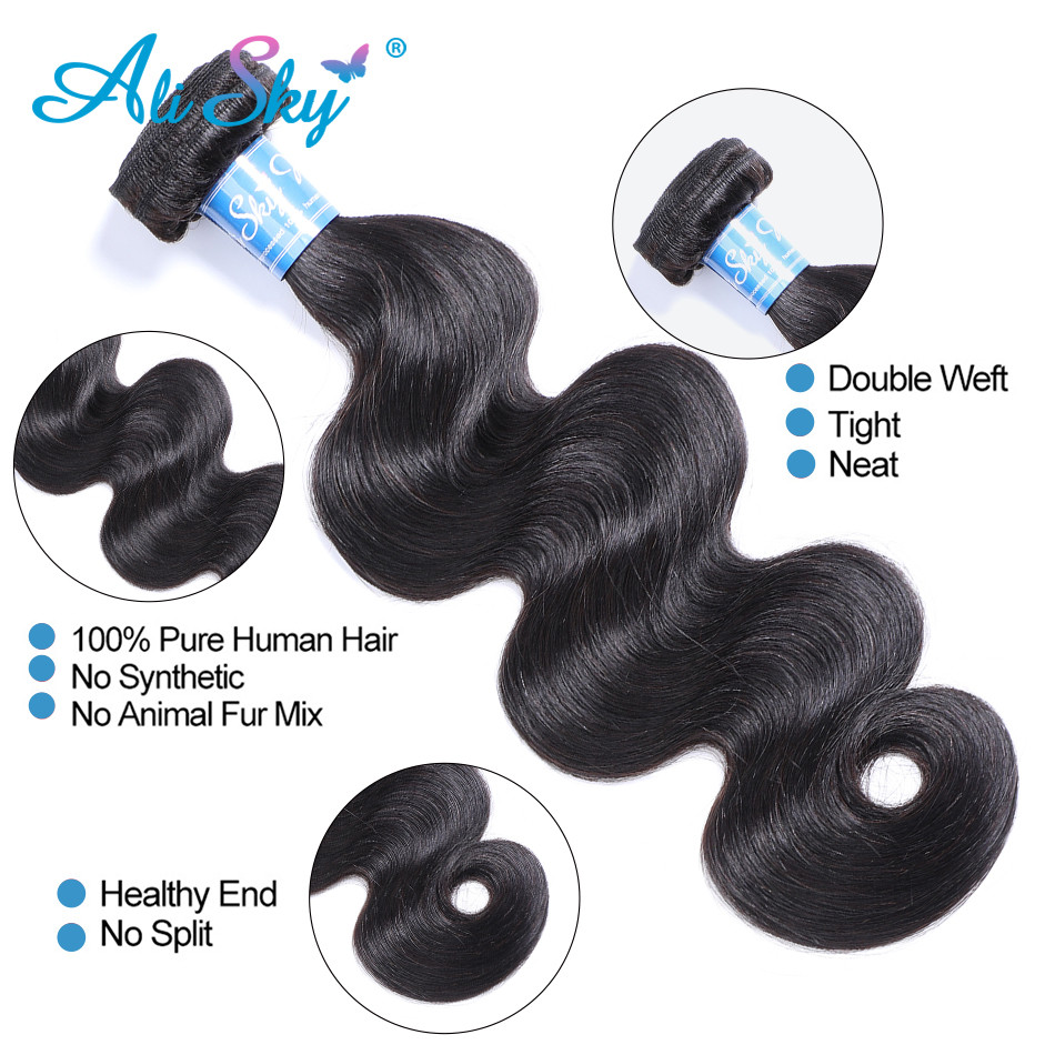 Alisky Hair Peruvian Body Wave Hair 100% Human Hair bundles 8-30inch weaves 1/3/4 bundles No Tangle Remy hair extensions High