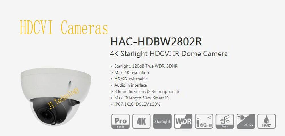 Free Shipping DAHUA Original CCTV 4K Starlight Camera 8MP WDR 3DNR IR Waterproof HDCVI Dome Camera IP67 No Logo HAC-HDBW2802R free shipping dahua cctv camera 4k 8mp wdr ir mini bullet network camera ip67 with poe without logo ipc hfw4831e se