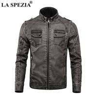 LA SPEZIA Motorcycle Jacket Men Biker Leather Jackets Gray Male Punk Rock Multi Zippers Pockets Fleece Thick Warm Winter Coats