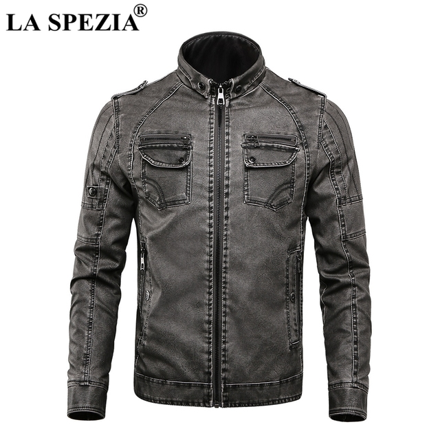 LA SPEZIA chaqueta de LA motocicleta de los hombres chaquetas de cuero de  motorista gris hombre 7a14413b13ae
