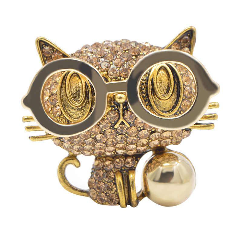 CINDY XIANG Nuovo Arrivo Indossare Occhiali Cat Spille per Le Donne Monili Svegli Animale Zaino Distintivi e Simboli Rhinestone Del Gattino di Spille 2 Colori