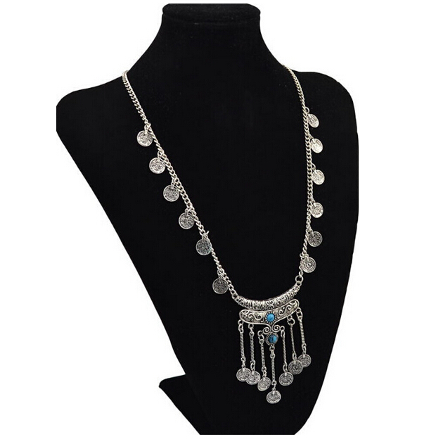 SPX6182 Fashion Charms Choker Alloy Famous Big Chunky Statement Body Coin Long Necklaces Sweat Chian Jewelry For Women Christmas