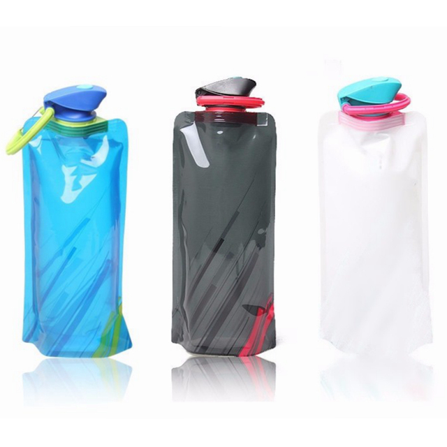 700ml Portable Folding Foldable Water Bottle Durable Outdoor Sports Water Bottle Bag Travel Hiking Environmental BPA Free Kettle