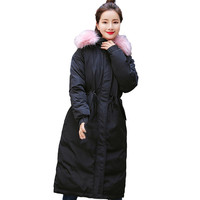 Women Solid Thicker Winter Slim Warm Lammy Jacket Hair Collar Overcoat Winter Hooded Thick Cotton Warm Long Oversize Coat A8
