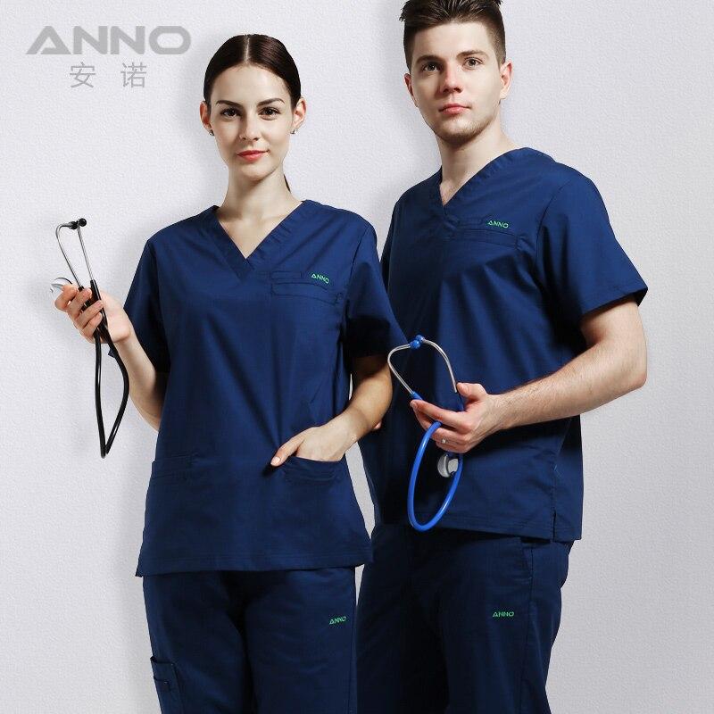 ANNO Elastic Medical Scrubs Hospital Staff Uniforms Pretty Nursing Clothes and Salon Slim fit fashion design Surgical gown