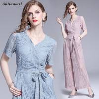 2019 Summer Women Casual Elegant Sleeveless V Neck Jumpsuits Fashion Boho Short Sleeve Wide Leg Jumpsuits Work Rompers Overalls
