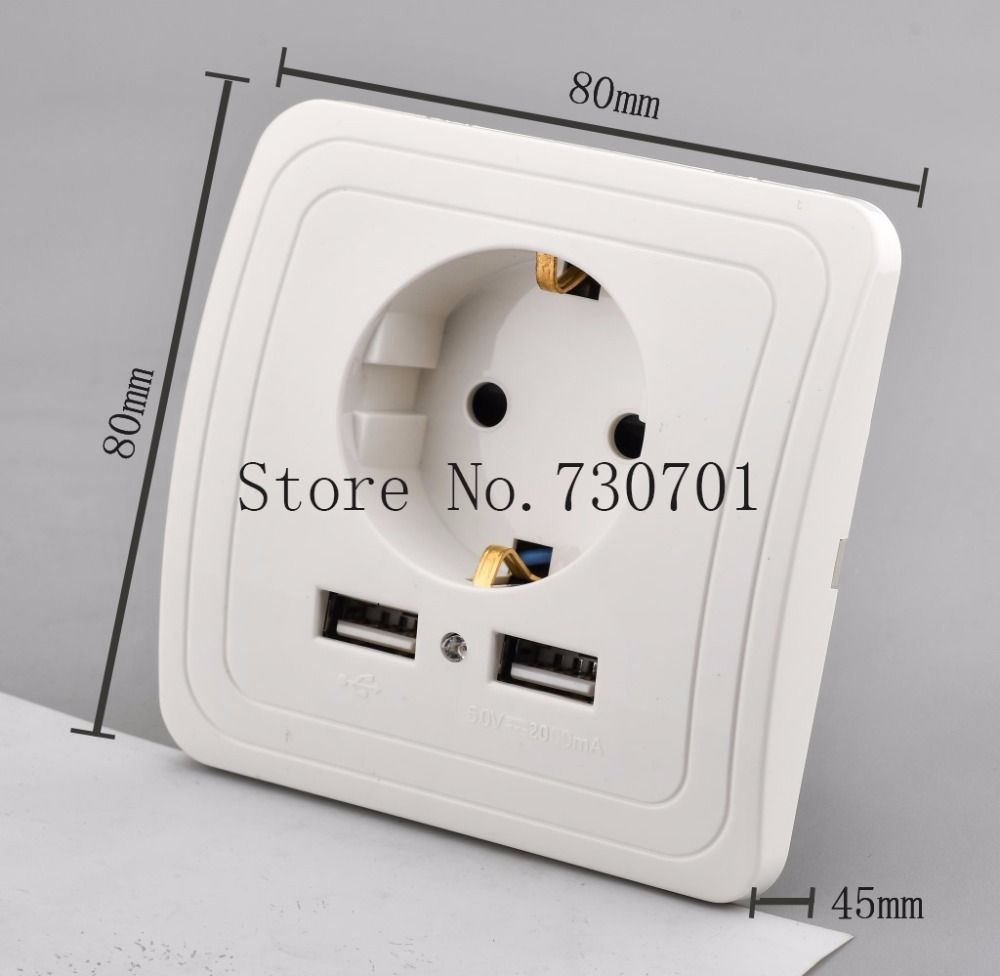 (Ship from Russian )Best Dual USB Port 2.1A Wall Charger Adapter EU power Socket Power Outlet Panel Silver/Golden free shipping dual usb wall charger