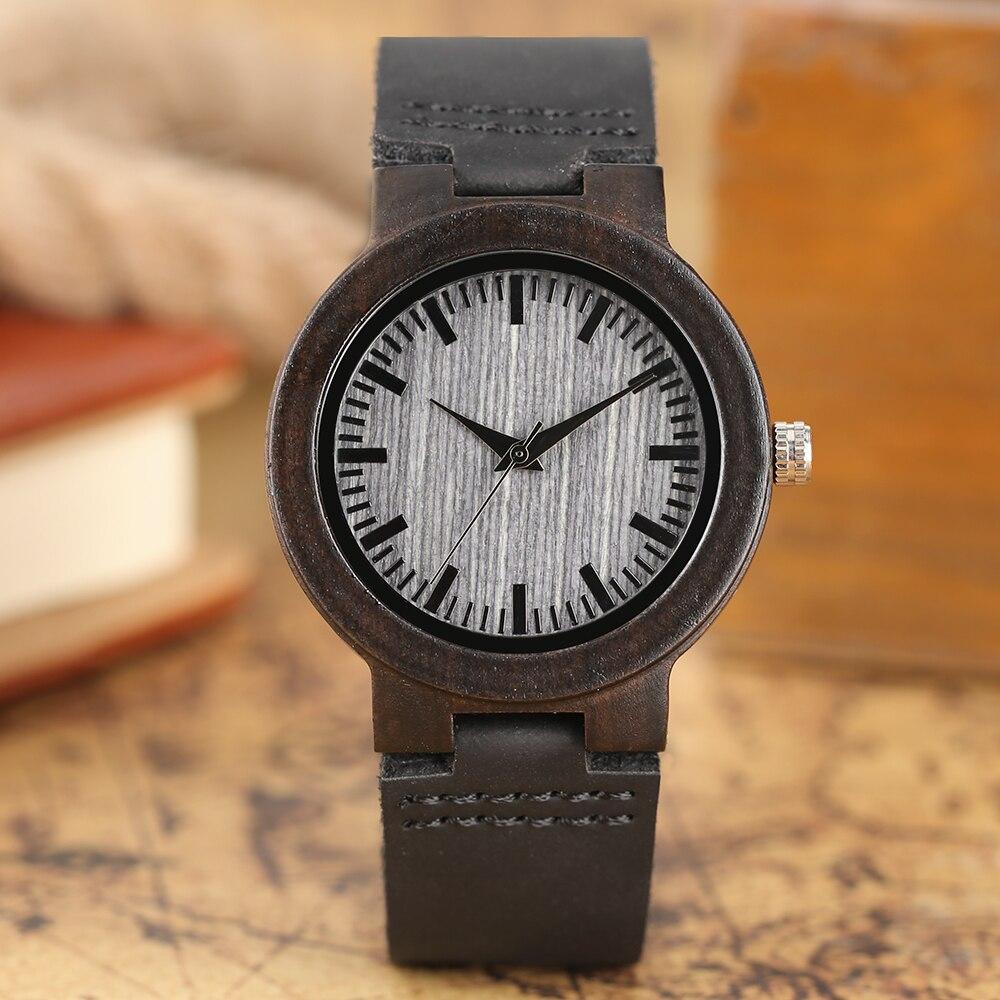 Kvinnor Klockor Trä Armbandsur Armband Kvarts Klocka Äkta Läder - Herrklockor