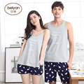 2016 Summer Lovers Sleepwear Thin Male's Or Female's Spaghetti Strap Cotton At Home Set Male Relaxed Vest Lounge