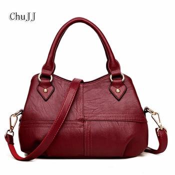 Chu JJ Fashion Women Genuine Leather Handbags OL Style Tote Bag Ladies Shoulder Bags Patchwork Women Messenger Bags tote bag