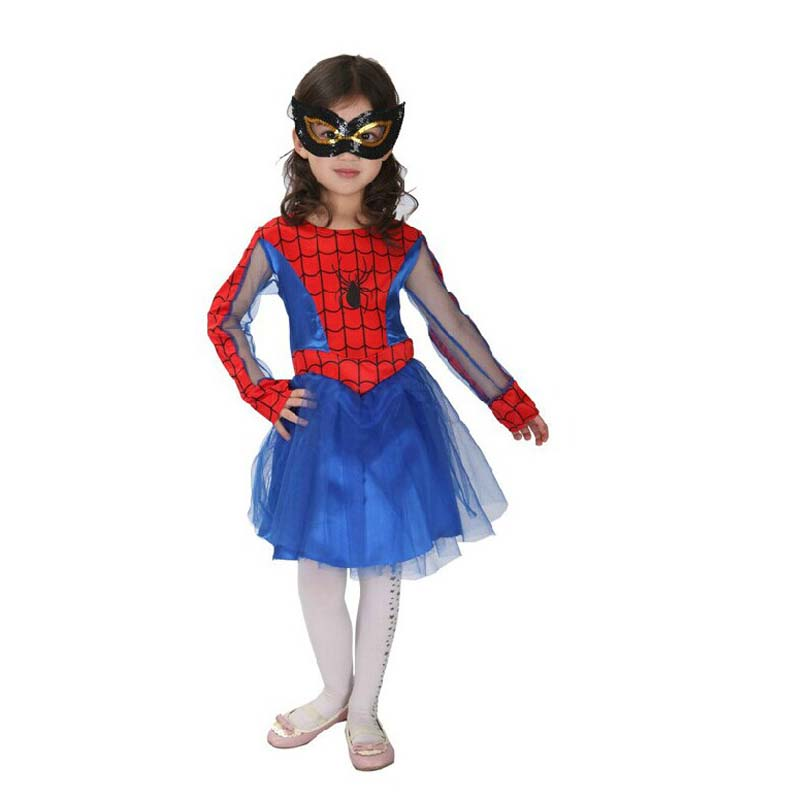 Product Features tutu-inspired Spider-Girl costume dress with printed metallic bodice and.