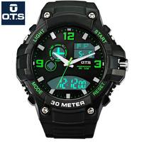 OTS Luxury Watch Men Famous Brand Sport Watch Men Waterproof LED Analog Digital Watch Men Dual