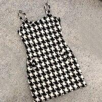 Теплое вязаное платье для леди платье комбинация пикантные Для женщин Черный и белый плед платья Для женщин шерстяные платья