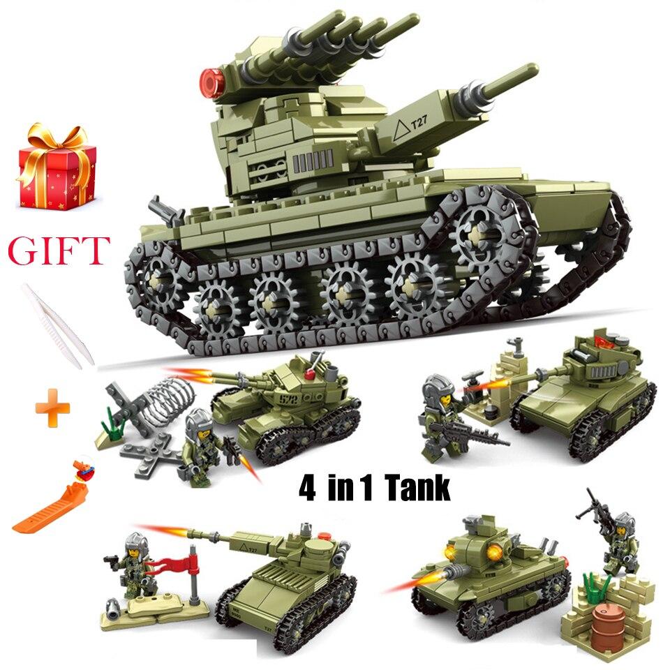 4 in 1 Military Jagged Tank Team Micro Building Blocks Children Assemable Bricks Model Toy Nanoblock Educationa Bricks Tank Gift