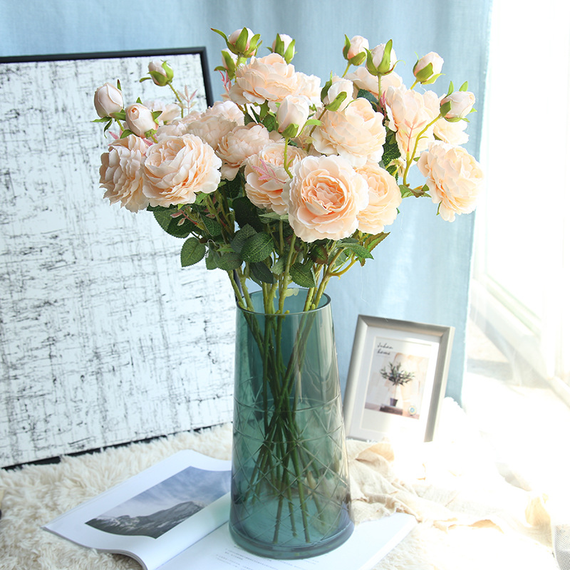 Artificial silk 1 Bunch French Rose Floral Bouquet Fake Flower Arrange Table Daisy Wedding Flowers Decor Party accessory Flores thumbnail