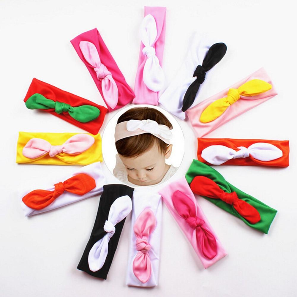 Hot sale 12 colors korean fashion Kids Girls Rabbit Bow Hairband cute Baby Headband solid Turban Knot Head headscarf new