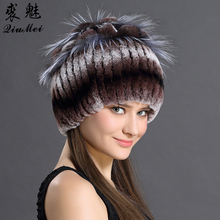 Women s Customized Hats Winter Russian Genuine Rex Rabbit Fur Beanies For Females Hat With Floral