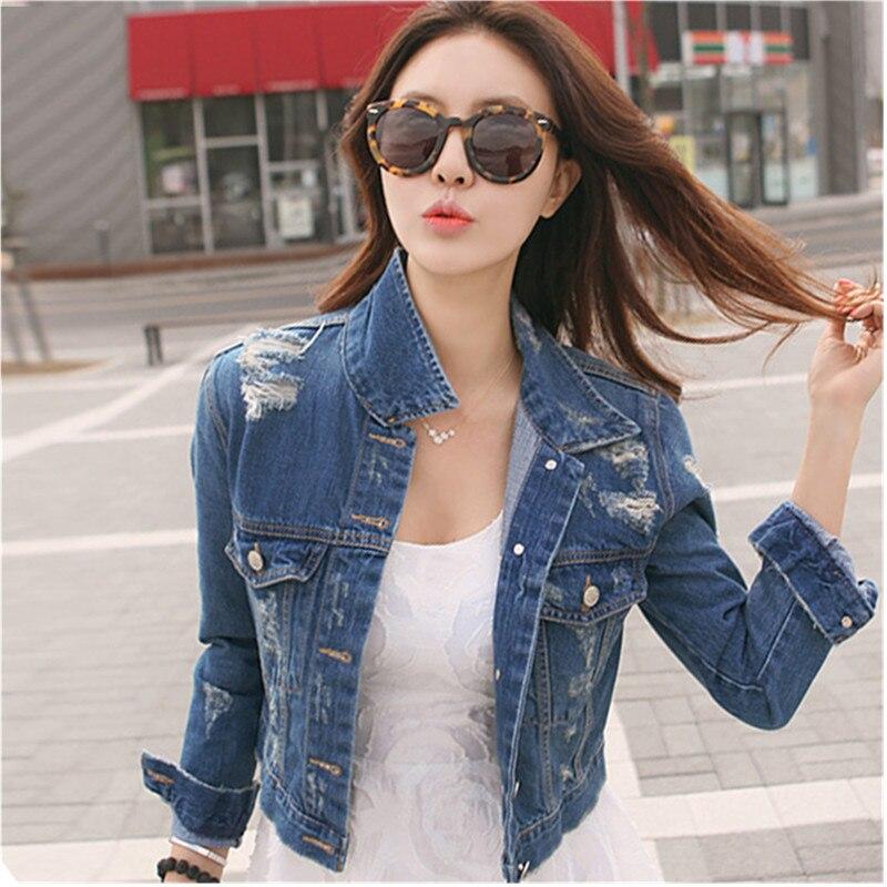 5bfa306ad352 Online Get Cheap Cropped Jean Jackets for Women -Aliexpress.com ... 2017  Spring Womens Girls New Princess Denim Jacket Distressed Crop Outerwear Coat  ...