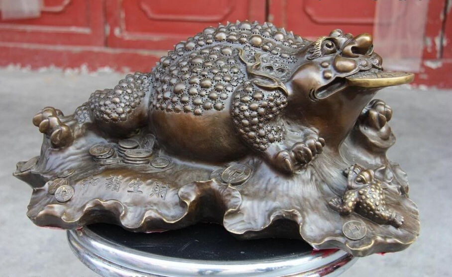 S0620 8 Chinese Fine Copper Bronze Fengshui Wealth Coin Money Three-legged Toad Statue D0318