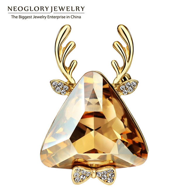 Neoglory áustria crystal & rhinestone charme veados broches banhado a ouro para as mulheres bijuterias 2017 nova w1