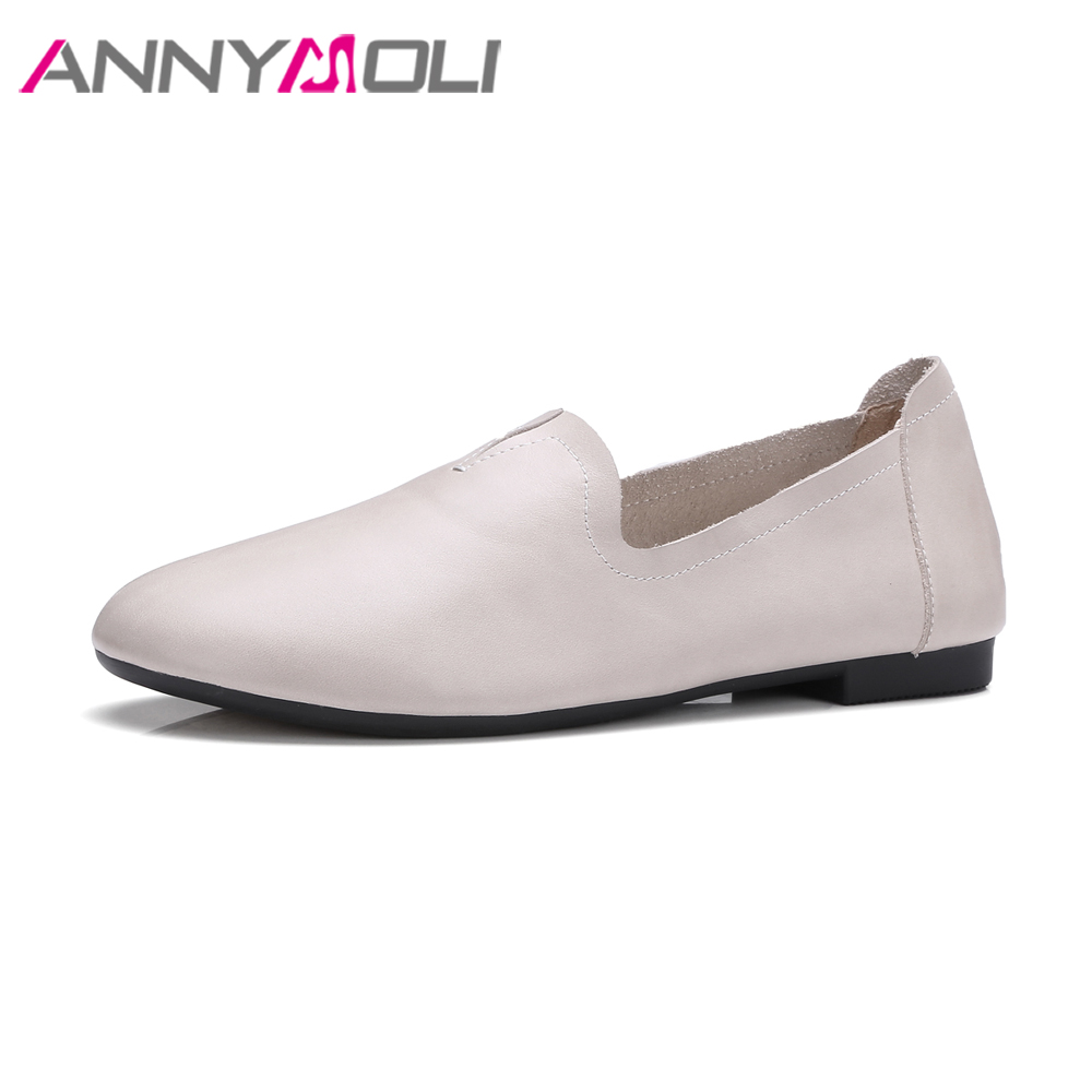 ANNYMOLI Genuine Leather Women Moccasins Shoes Flats Slip On Loafers Shallow Casual Shoes Soft Real Leather Autumn Flat Footwear siketu sweet bowknot flat shoes soft bottom casual shallow mouth purple pink suede flats slip on loafers for women size 35 40
